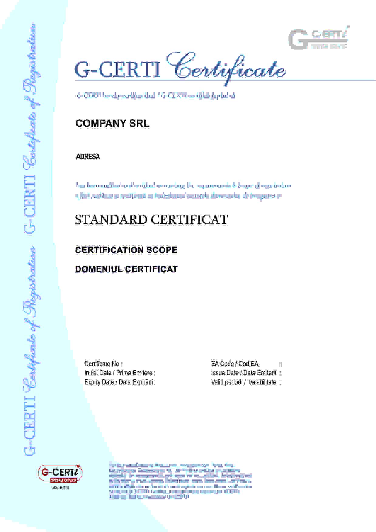 Certificat ISO 22000 - Siguranța alimentului